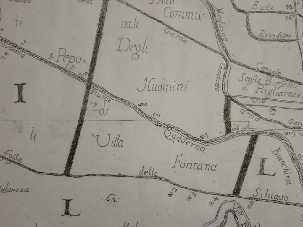 Particolare della mappa del 1700 del Perito Caldani